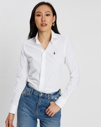 Polo Ralph Lauren Women's White Shirts & Blouses - Classic Fit Stretch Shirt at The Iconic