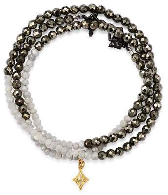 Armenta 18K Yellow Gold & Blackened Sterling Silver Old World Pyrite, Moonstone & Pavé Diamond Beaded Wrap Bracelet