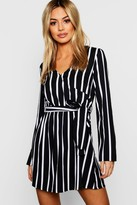 boohoo Petite Black Wrap Over Stripe Shift Dress
