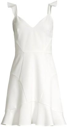 Aidan Mattox Crepe Flounce Hem Fit-&-Flare Dress