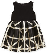 Milly Minis Sleeveless Ponte & Jacquard Combo Dress, Black/White, Size 8-14