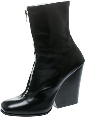 Celine Black Leather Square Toe Calf Length Boots Size 40.5