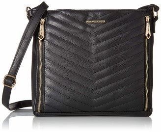 Rampage Womens Chevron Quilted Hobo Black One Size