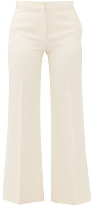 Valentino Crepe Couture Wool-blend Kick-flare Trousers - Womens - Ivory