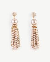 Ann Taylor Crystal Pearlized Tassel Earrings