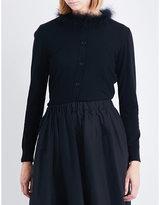 Simone Rocha Feather-trim wool silk and cashmere cardigan