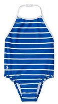 Ralph Lauren Ruffle-Trim Halter One-Piece Swimsuit, Blue, Size 9-24 Months