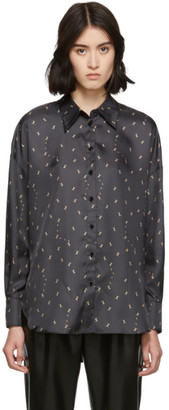 Tibi Grey Ant Polka Dot Blouse