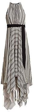 Halston Women's Sleeveless Strip Back Striped Handkerchief Dress