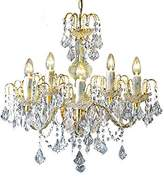 clear Loxton Lighting 5 Light Crystal Effect Gold Chandelier, Gold