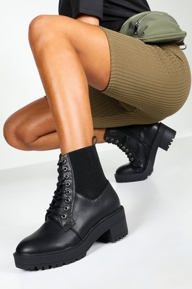 boohoo Elastic Panel Lace Up Chunky Hiker Boots