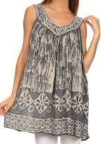Sakkas 84 - Wanda May Embroidered Batik Scoop Neck Relaxed Fit Sleeveless Blouse - OS