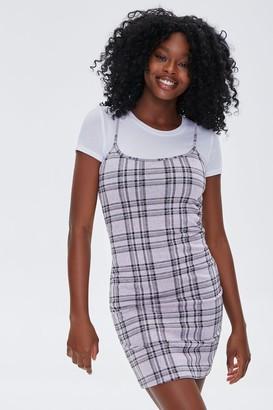 Forever 21 Plaid Cami Overall Dress