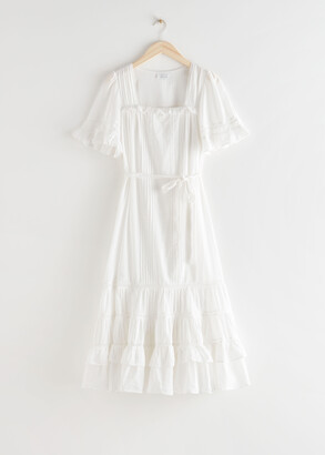 And other stories Frilled Lace Midi Dress