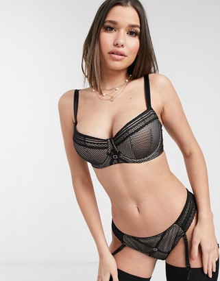 Curvy Kate Starstruck lace and net padded balcony bra in black