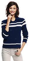 Lands' End Women's Petite Merino-Cotton Peacoat Sweater-Deep Sea/Cream Stripe