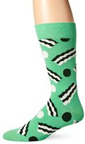 Happy Socks Men's 1pk Unisex Combed Cotton Crew-Green Bacon Dot