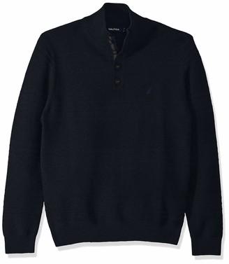 Nautica Men's Link Stripe Texture Mock Neck Sweater