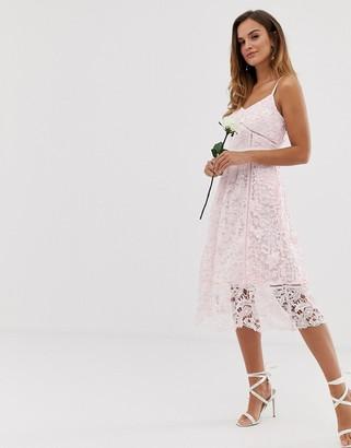 Ted Baker bridal premium lace midi dress-Pink