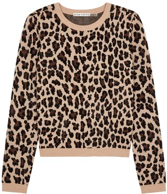 Alice + Olivia Connie leopard stretch-wool jumper