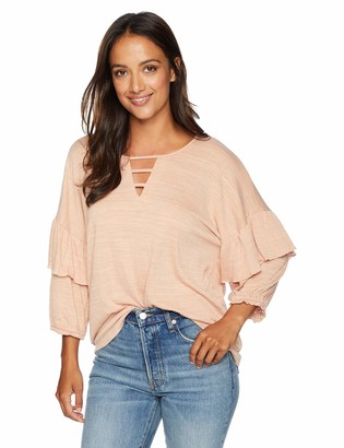 Democracy Women's Elbow Ruffle Sleeve Top with Bar Cut Out