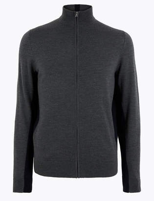 M&S CollectionMarks and Spencer Pure Extra Fine Merino Wool Half Zip
