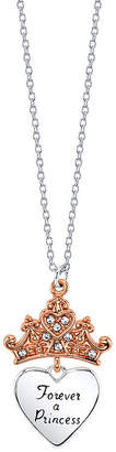 Disney Collection Crystal Pure Silver Over Brass 18 Inch Cable Princess Pendant Necklace