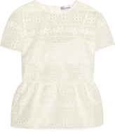 RED Valentino Crocheted Lace Peplum Top - White