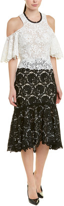 Monique Lhuillier Silk-Lined Midi Dress