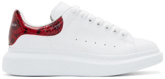 Alexander McQueen White and Red Python Oversized Sneakers