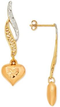 Italian Gold Multicolor Textured Filigree Heart Drop Earrings in 10k Gold & Rose Gold