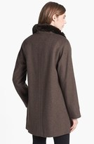 Ellen Tracy Faux Fur Trim Wool Blend Coat (Online Only)