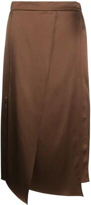 Brunello Cucinelli Draped-Panel Midi Skirt