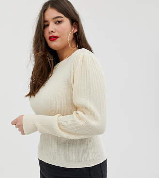 Asos DESIGN Curve rib knit sweater in natural look yarn-Stone
