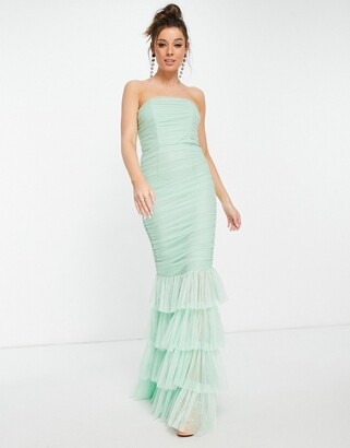 Forever U tiered fishtail maxi dress in mint