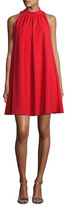Badgley Mischka Sleeveless Mock-Neck Crepe Swing Dress, Red