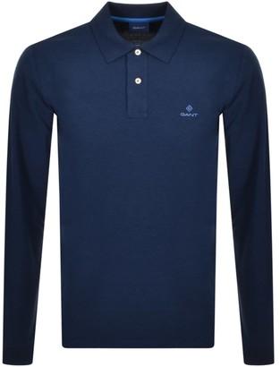 Gant Contrast Collar Long Sleeve Polo T Shirt Navy