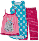 Asstd National Brand Komar Kids 3-pc. Love Bunny Pajama Set - Girls 7-16
