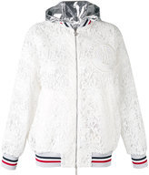 Moncler Gamme Rouge embroidered hooded jacket - women - Silk/Cotton/Polyester - 0