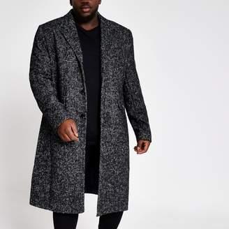 River Island Mens Big and Tall Grey herringbone wool overcoat