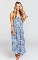 MUMU Turlington Maxi Dress ~ Deep Sea Deco Cloud