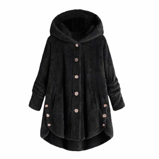 YEBIRAL Women Outwear Winter Long Sleeve Warm Parka Overcoat Plus Size Button Plush Tops Hooded Loose Cardigan Wool Coat Jacket Black