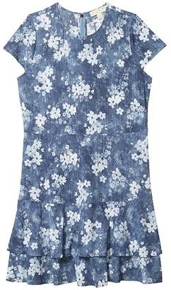 MICHAEL Michael Kors Size Bleached Out Floral Double Tier Dress (Chambray) Women's Dress