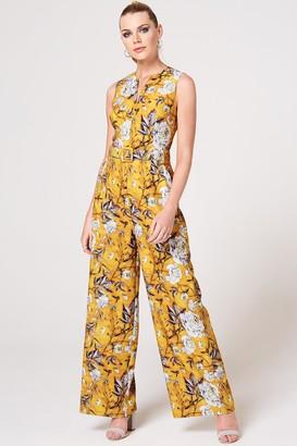 Paper Dolls Kaia Mustard Floral-Print Self Belt Jumpsuit