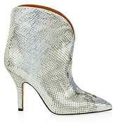 Paris Texas Women's Metallic Python-Embossed Leather Ankle Cowboy Boots