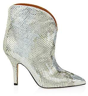 Paris Texas Women's Metallic Python-Embossed Leather Ankle Cowboy Boots