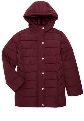 KensieGirl Girl's Mid-Length Faux Fur-Lined Puffer Coat