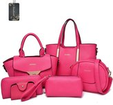 Donaword Women 6 Pieces Muti-purpose Bag in Bag Purse PUeather Handbag Set