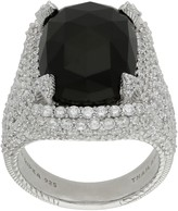 Judith Ripka Sterling Onyx & Diamonique Ring