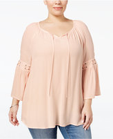 Style&Co. Style & Co. Plus Size Bell-Sleeve Peasant Top, Only at Macy's